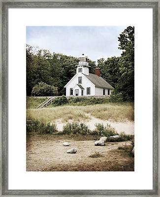 Mission Point Lighthouse Framed Print by Christy Woods