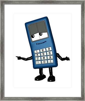 Mobile Phone Cartoon Character Framed Print by Friedrich Saurer