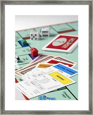 Monopoly Board Game Framed Print by Tek Image