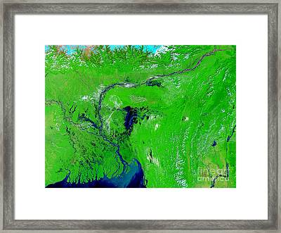 Monsoon Floods Framed Print by NASA / Science Source