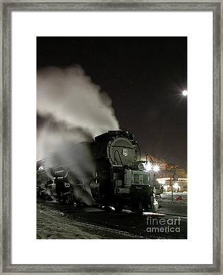 Moon And Steam Framed Print by Tim Mulina