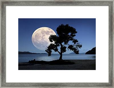 Moon Rising Over The Sea Framed Print by Detlev Van Ravenswaay