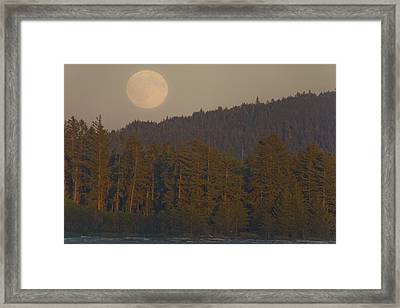 Moonrise At Sunset Along The Shores Framed Print by Taylor S. Kennedy