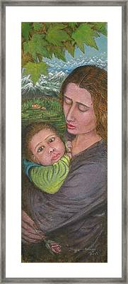 Mother And Child Framed Print by Shafiq-ur- Rehman