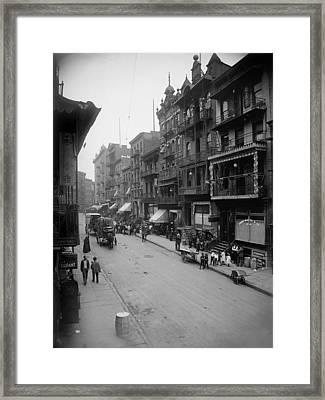 Mott Street In New York Citys Chinatown Framed Print