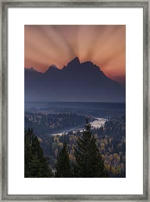 Mountain Sunset Framed Print by Andrew Soundarajan
