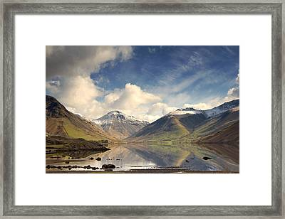 Mountains And Lake At Lake District Framed Print by John Short