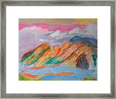 Framed Print featuring the painting Mountains In The Clouds by Meryl Goudey