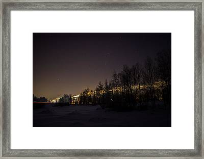 Framed Print featuring the photograph My City Under Orion by Matti Ollikainen