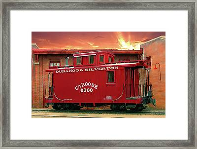 My Little Red Caboose Too Framed Print by Gary Baird