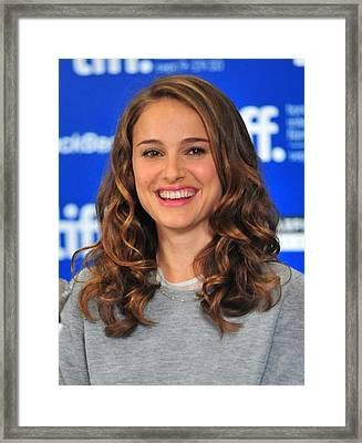 Natalie Portman At The Press Conference Framed Print