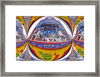 Nathans Hot Dog Eating Contest Framed Print by Mark Gilman