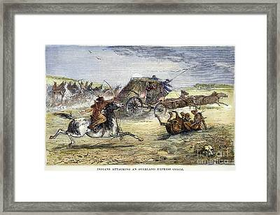 Native American Attack On Coach Framed Print by Granger