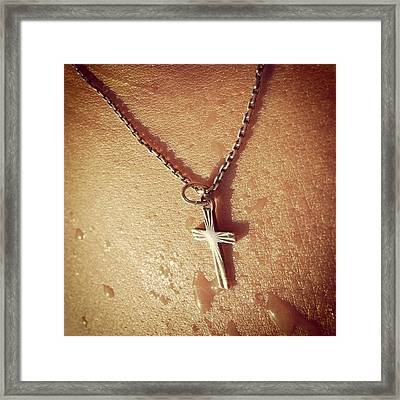 Necklace With Cross - Skin With Waterdrops Framed Print