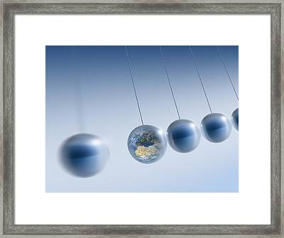 Newtonian Earth, Conceptual Artwork Framed Print by Detlev Van Ravenswaay