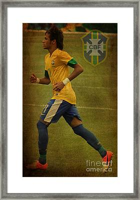 Neymar Junior Framed Print by Lee Dos Santos