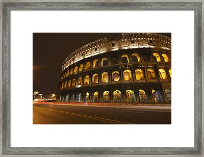 Night Lights Of The Colosseum Rome Framed Print by Trish Punch