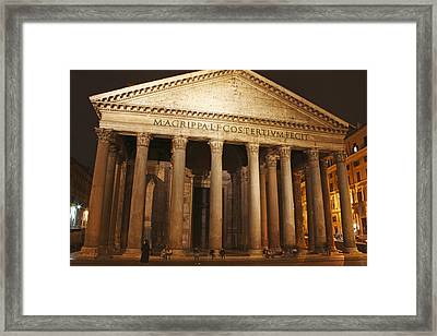 Night Lights Of The Pantheon In Piazza Framed Print by Trish Punch