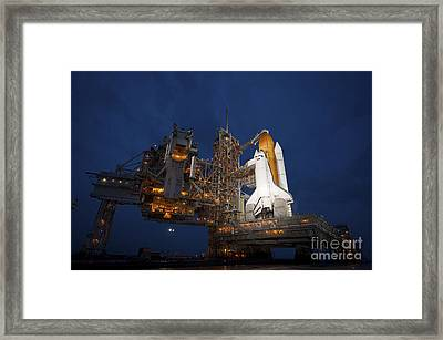 Night View Of Space Shuttle Atlantis Framed Print by Stocktrek Images
