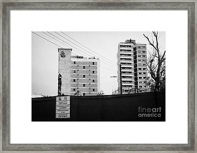 No Photography Warning Signs At Varosha Forbidden Zone With Salaminia Tower Hotel Abandoned In 1974 Framed Print