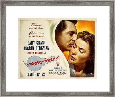 Notorious, Cary Grant, Ingrid Bergman Framed Print by Everett