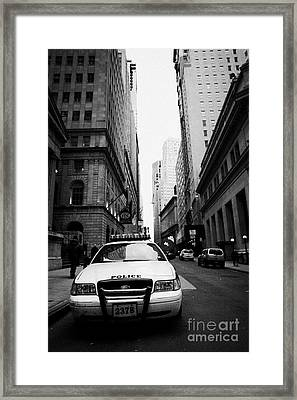Nypd Police Patrol Car Parked In Wall Street Downtown New York City Framed Print