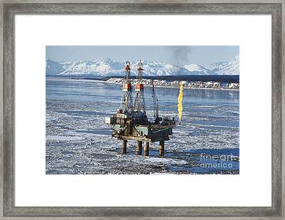 Offshore Oil Drilling Platform, Alaska Framed Print by Joe Rychetnik