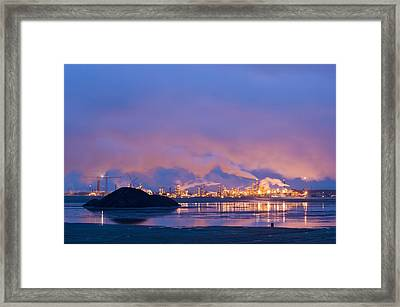 Oil Refinery At Night Framed Print
