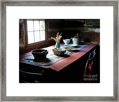 Old Cabin Table Framed Print by Julie Dant