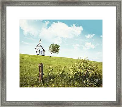 Old Country School House  On A Hill  Framed Print