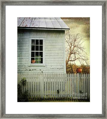 Old Farm  House Window  Framed Print by Sandra Cunningham