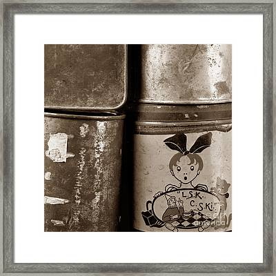 Old Fashioned Iron Boxes. Framed Print