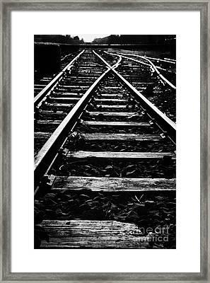 old junction railway line at Charlestown county mayo republic of ireland Framed Print by Joe Fox