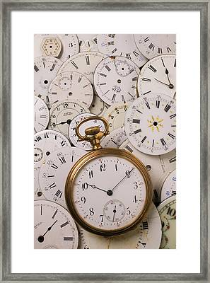 Old Pocket Watch On Dail Faces Framed Print