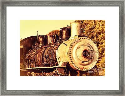 Old Steam Locomotive Engine 1258 . 7d10482 Framed Print