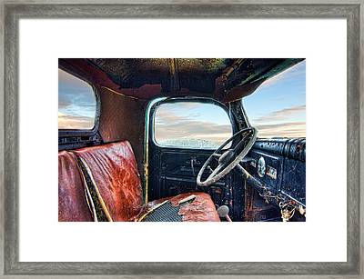 Old Truck Interior Framed Print by Tim Fleming