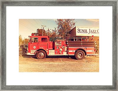Old Whitney Seagrave Fire Engine At The Sunol Jazz Cafe In Sunol California . 7d10785 Framed Print by Wingsdomain Art and Photography