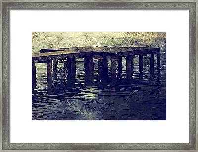 Old Wooden Pier With Stairs Into The Lake Framed Print by Joana Kruse