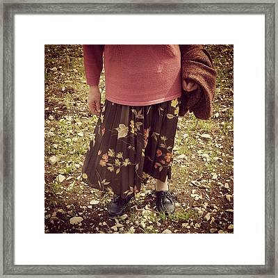 Older Woman Standing In Stony Acre Framed Print