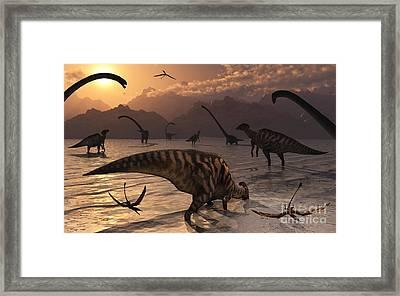Omeisaurus And Parasaurolphus Dinosaurs Framed Print by Mark Stevenson