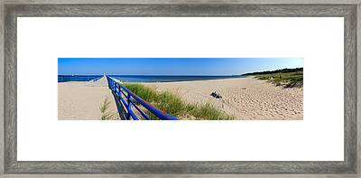 Onekama Michigan Pier And Beach Framed Print by Twenty Two North Photography