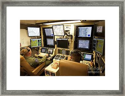 Operators Control Uavs From A Ground Framed Print