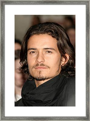 Orlando Bloom At Arrivals For Kingdom Framed Print by Everett