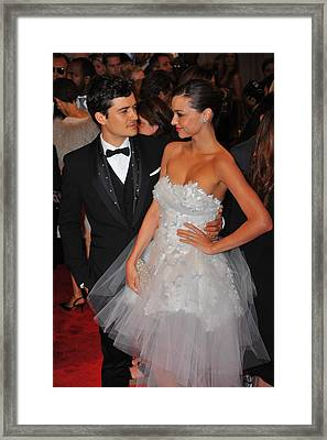 Orlando Bloom, Miranda Kerr At Arrivals Framed Print by Everett