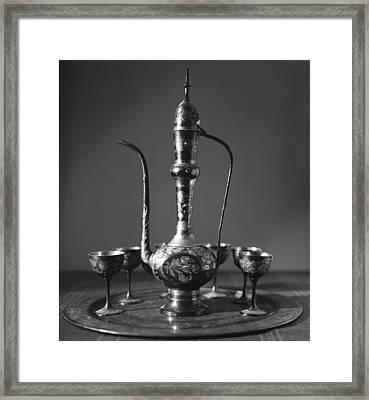 Ornate Arab Pot And Goblets Framed Print by Paul Cowan