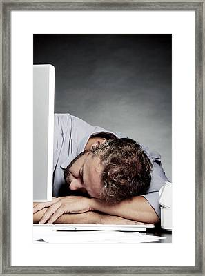 Over-worked, Conceptual Image Framed Print by Mauro Fermariello