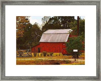 Framed Print featuring the photograph Ozark Red Barn by Lydia Holly