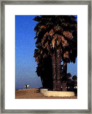 Palm Trees At Surfers Point Framed Print by Ron Regalado