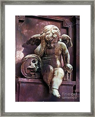 Paris Cemetery - Pere La Chaise - Cherub And Skull Framed Print by Kathy Fornal