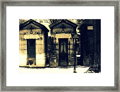 Paris Cemetery Montparnasse -  Mausoleums  Framed Print by Kathy Fornal